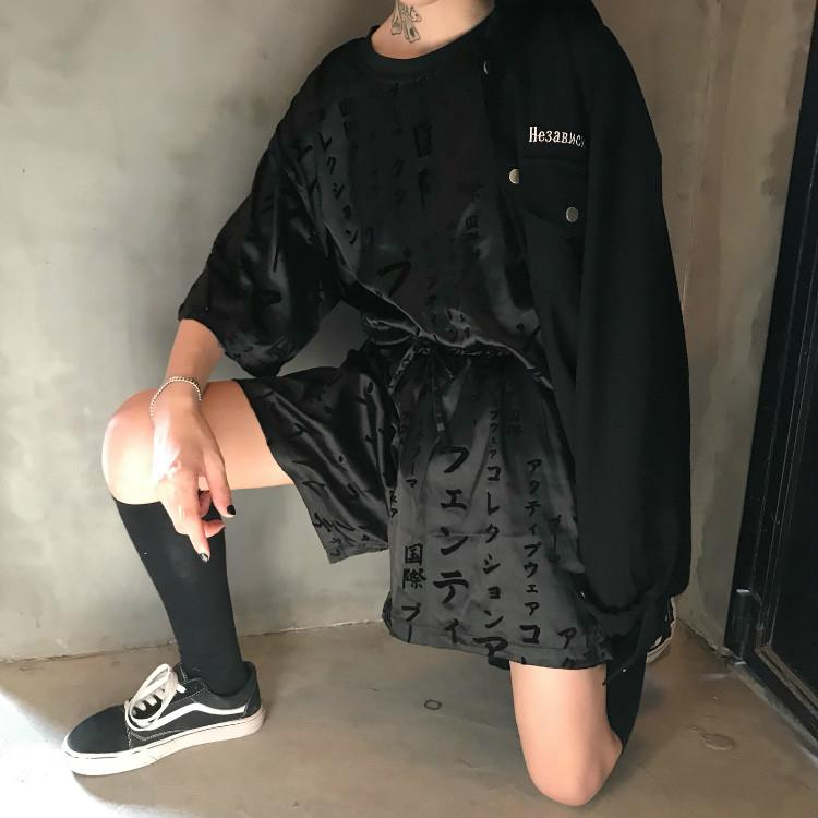 Buy cheap Aesthetic clothes BLACK PRINT SILKY LOOSE COMFY HIGH WAIST SHORTS+SHIRT 30% OFF - NORMCORE STUDIOS