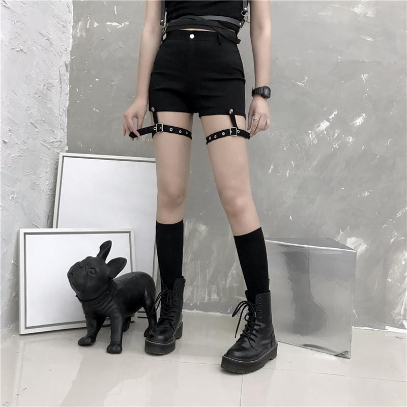 Buy cheap Aesthetic clothes BLACK PUNK STRAPS HIGH WAIST SLIM SHORTS 30% OFF - NORMCORE STUDIOS