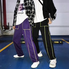 Buy cheap Aesthetic clothes BLACK PURPLE STREET STYLE STRAIGHT LOOSE PANTS 30% OFF - NORMCORE STUDIOS