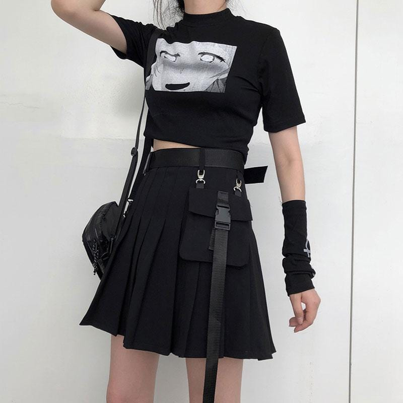 Buy cheap Aesthetic clothes BLACK RED PLAID HIGH WAIST PLEATED SKIRT 30% OFF - NORMCORE STUDIOS