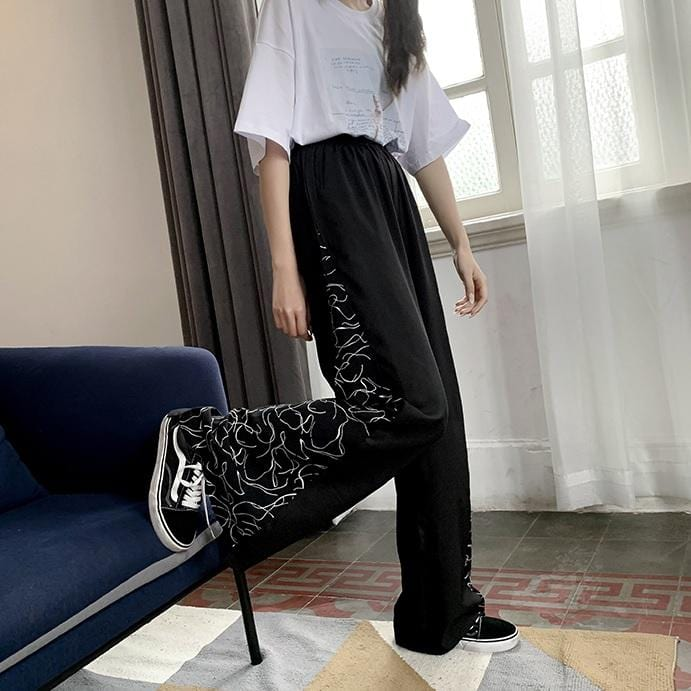 Buy cheap Aesthetic clothes BLACK SIDE PATTERN HIGH WAIST LOOSE LONG PANTS 30% OFF - NORMCORE STUDIOS
