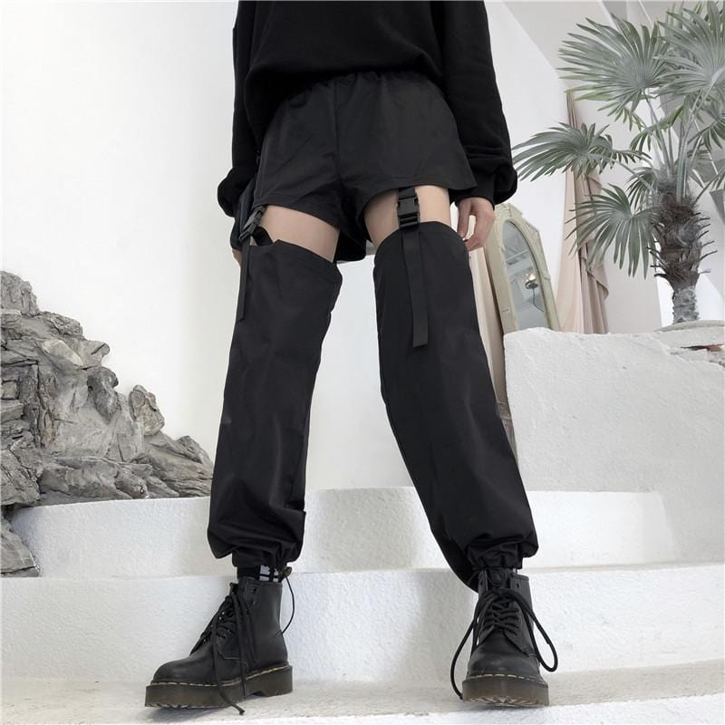 Buy cheap Aesthetic clothes BLACK STRAPS STREET STYLE SHORTS PANTS 30% OFF - NORMCORE STUDIOS