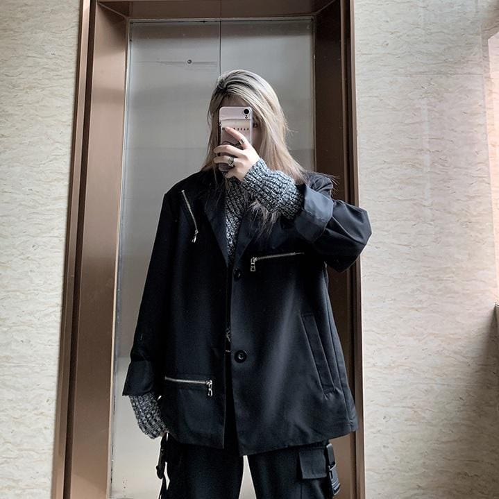 BLACK TECHWEAR ZIPPER LOOSE OUTWEAR JACKET