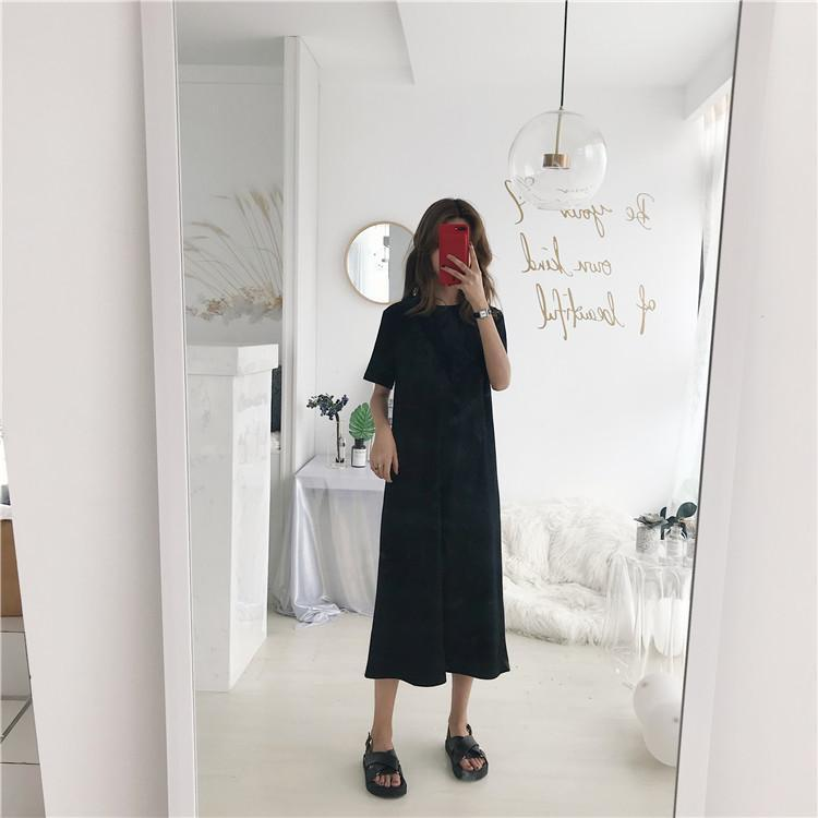 Buy cheap Aesthetic clothes BLACK WHITE LONG ROUND NECK LOOSE SHIRT DRESS 30% OFF - NORMCORE STUDIOS