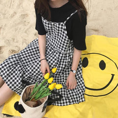 Buy cheap Aesthetic clothes BLACK WHITE PLAID SUMMER SLEEVLESS DRESS 30% OFF - NORMCORE STUDIOS