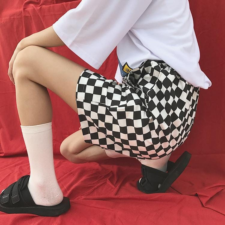Buy cheap Aesthetic clothes BLACK WHITE RETRO CHECKERED LOOSE SHORTS 30% OFF - NORMCORE STUDIOS