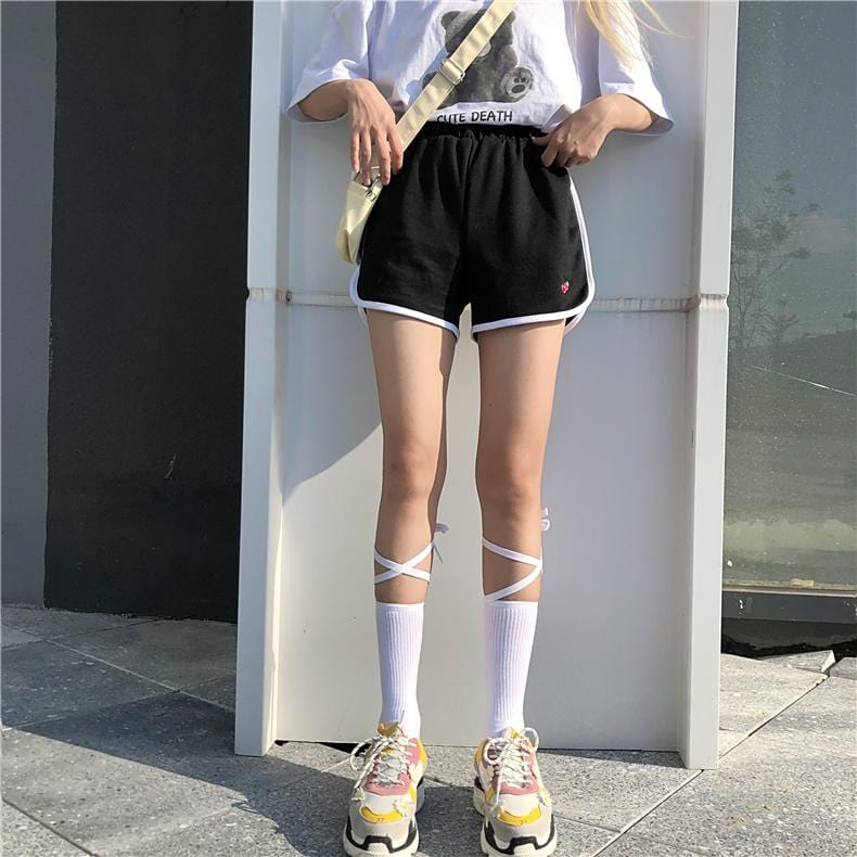 Buy cheap Aesthetic clothes BLACK WHITE RIBBON LETTERS PRINT HIGH SOCKS 30% OFF - NORMCORE STUDIOS