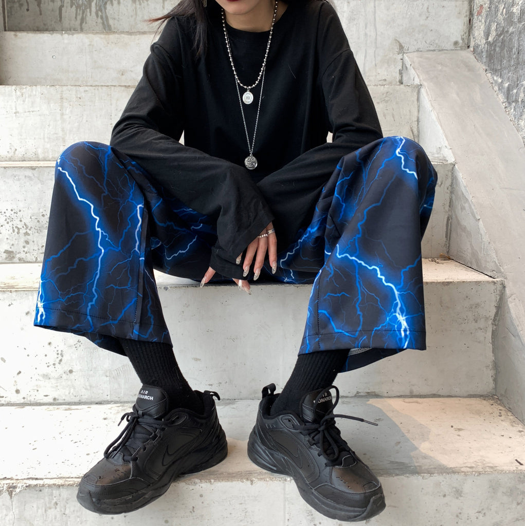 BLUE LIGHTNING PRINT 90s LOOSE BLACK PANTS