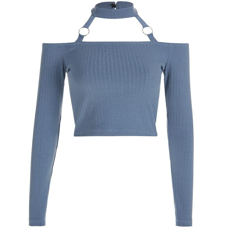 Buy cheap Aesthetic clothes BLUE LONG SLEEVED KNIT SLIM OPEN SHOULDERS CROP TOP 30% OFF - NORMCORE STUDIOS