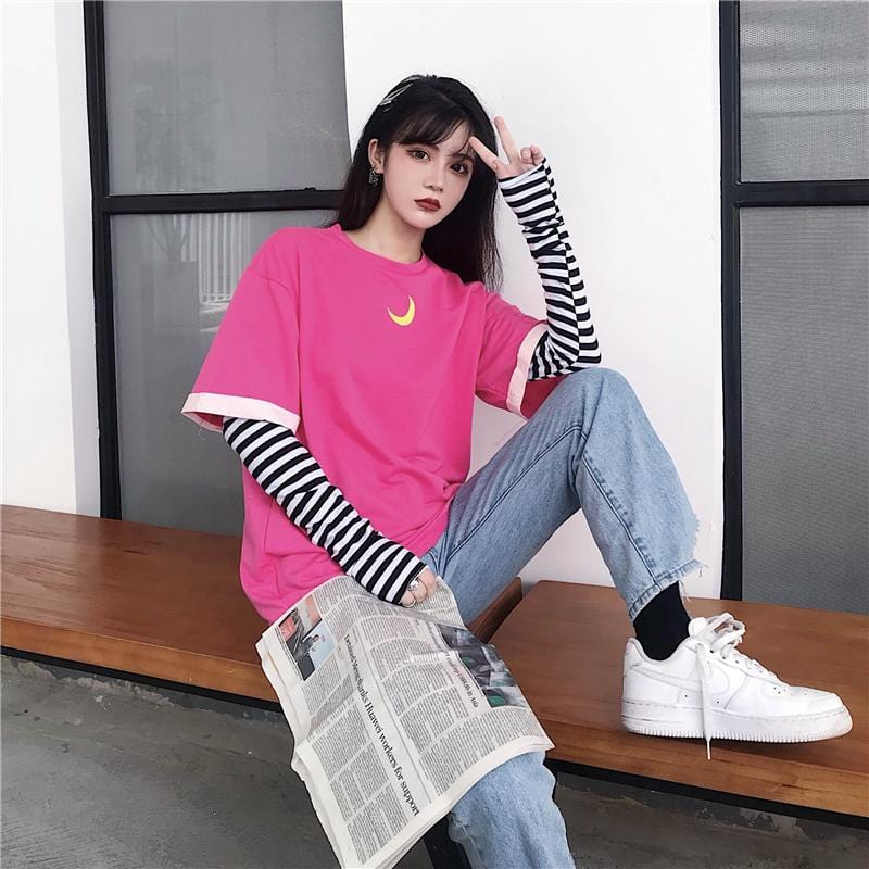 Buy cheap Aesthetic clothes BRIGHT PINK MOON EMBROIDERY FAKE TWO PIECE SHIRT 30% OFF - NORMCORE STUDIOS