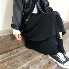 Buy cheap Aesthetic clothes BLACK RETRO SKIRT LAYERED 30% OFF - NORMCORE STUDIOS