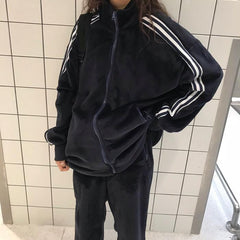 Buy cheap Aesthetic clothes CASUAL BLACK VELVET SPORTY TWO PIECE PANTS SUIT 30% OFF - NORMCORE STUDIOS