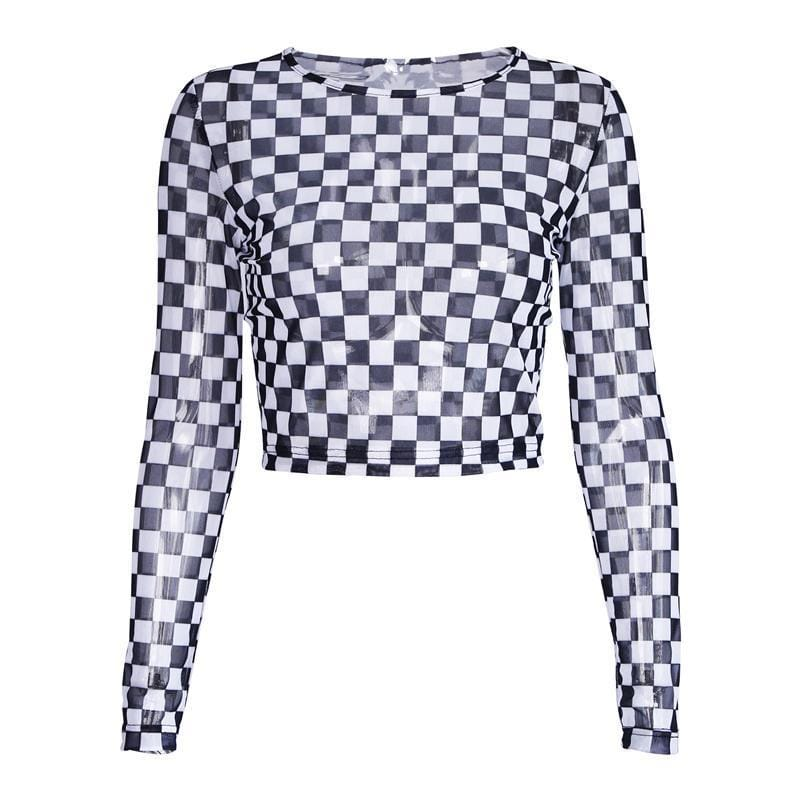 Buy cheap Aesthetic clothes CHECKER RACER GRID BW TRANSPARENT GAUZE LONG SLEEVE CROP TOP 30% OFF - NORMCORE STUDIOS