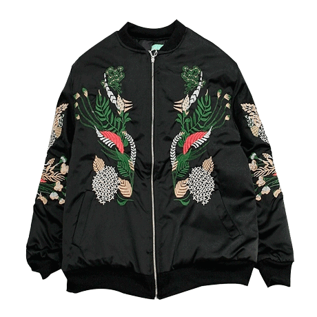 Buy cheap Aesthetic clothes CHINESE PLANTS EMBROIDERY BLACK SILK OUTWEAR JACKET 30% OFF - NORMCORE STUDIOS