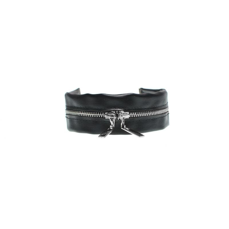 Buy cheap Aesthetic clothes LEATHER BLACK CHOKER SHINY ZIPPER 30% OFF - NORMCORE STUDIOS