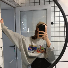 Buy cheap Aesthetic clothes COMIC BOOK PAGE OVERSIZE LONG SLEEVE SHIRT 30% OFF - NORMCORE STUDIOS