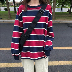 Buy cheap Aesthetic clothes CONTRAST COLORS STRIPED LOOSE LONG SLEEVED SHIRT 30% OFF - NORMCORE STUDIOS