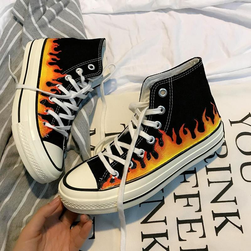 Buy cheap Aesthetic clothes SKATE HIGH CLASSIC SNEAKERS PRINT FIRE THICK SOLE 30% OFF - NORMCORE STUDIOS