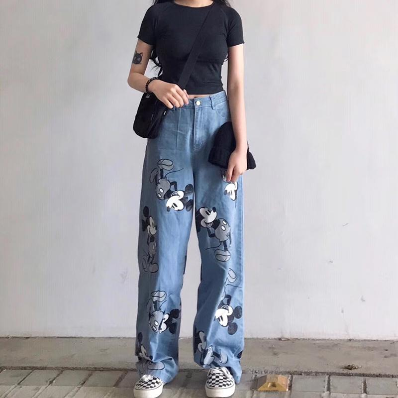 DISNEY MICKEY PRINT BLUE DENIM LOOSE PANTS