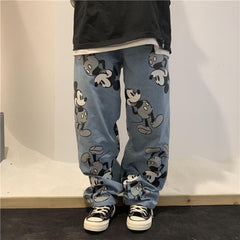 Buy cheap Aesthetic clothes DISNEY MICKEY PRINT BLUE DENIM LOOSE PANTS 30% OFF - NORMCORE STUDIOS