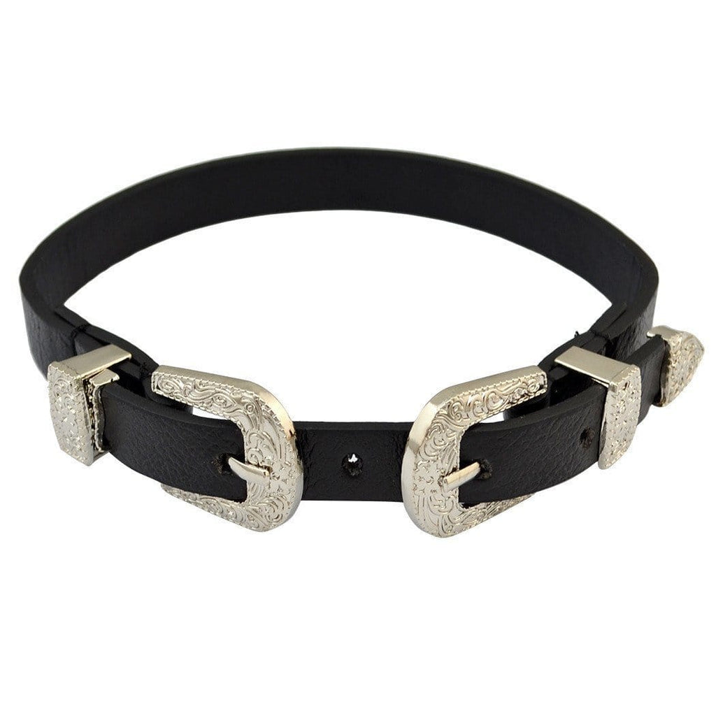 itGirl Shop DOUBLE TWINS VINTAGE METALLIC BUCKLES LEATHER BELT CHOKER Aesthetic Apparel, Tumblr Clothes, Soft Grunge, Pastel goth, Harajuku fashion. Korean and Japan Style looks