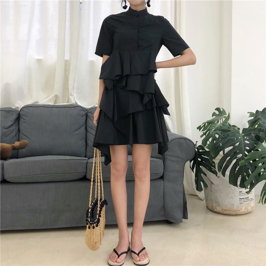 Buy cheap Aesthetic clothes FLARED BLACK COTTON SHORT SLEEVE COLLAR CLOSED DRESS 30% OFF - NORMCORE STUDIOS