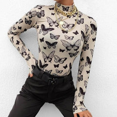TOP PRINT BUTTERFLY COLLAR WIDE SLEEVES