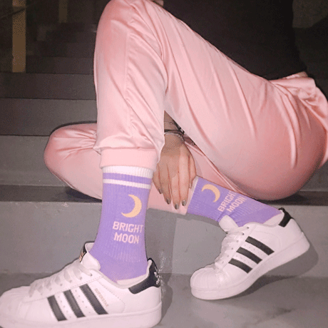 itGirl Shop BRIGHT MOON SUGAR PURPLE HIGH ANKLE SOCKS Aesthetic Apparel, Tumblr Clothes, Soft Grunge, Pastel goth, Harajuku fashion. Korean and Japan Style looks
