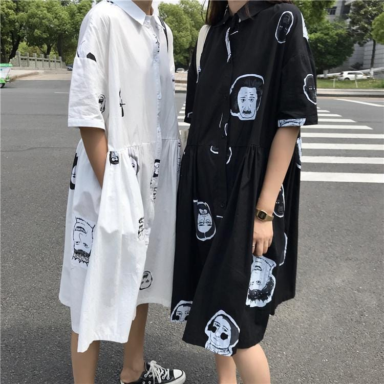 Buy cheap Aesthetic clothes FUNNY FAMOUS FACES PRINT LONG THIN DRESS 30% OFF - NORMCORE STUDIOS