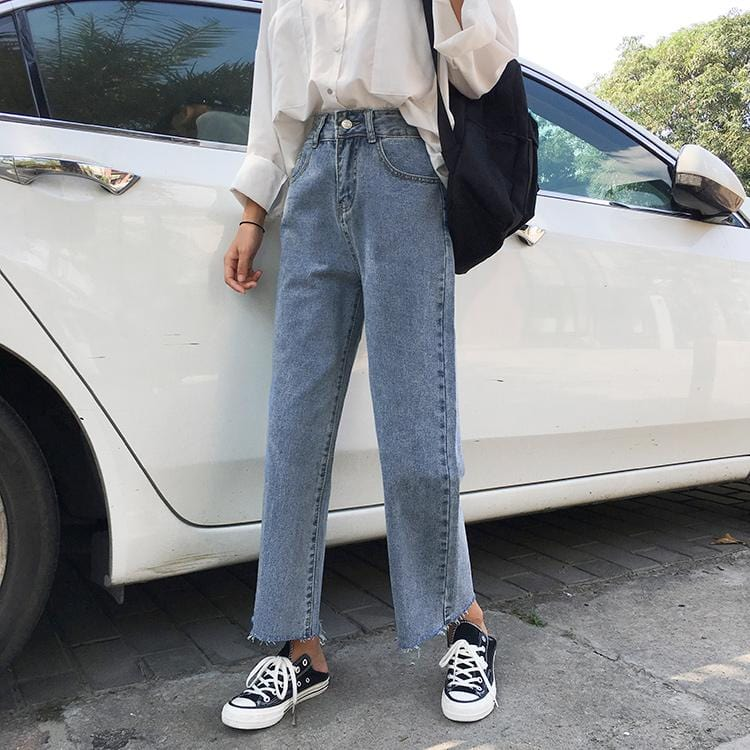 STREETSTYLE RETRO BLUE BLACK HIGH ANKLE JEANS CROPPED PANTS