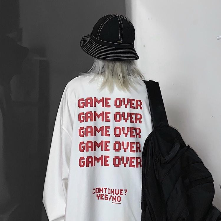 GAME OVER PRINT EGIRL LOOSE LONGSLEEVE WHITE SHIRT