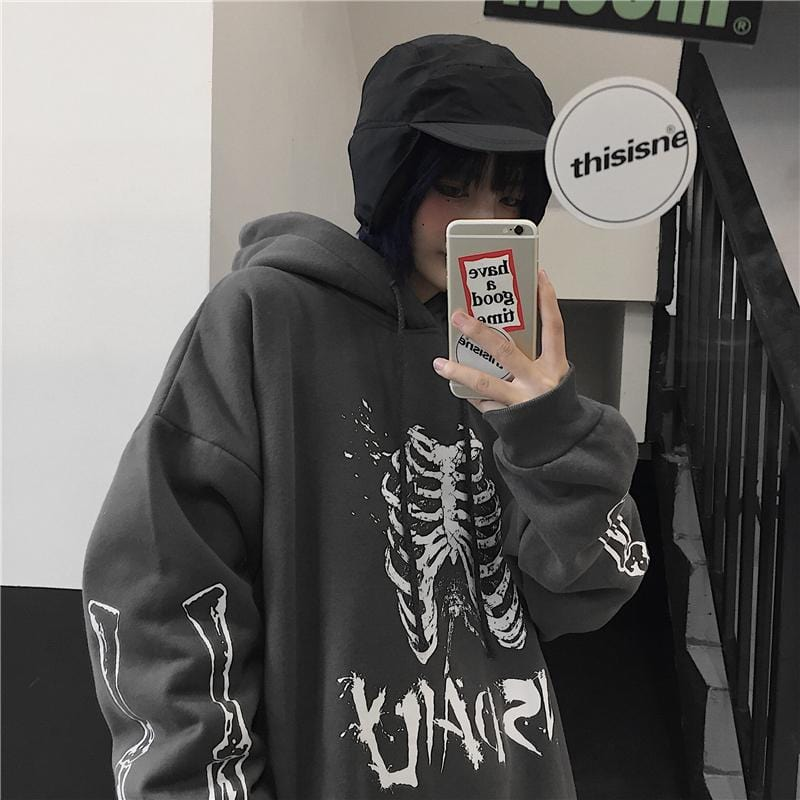 Buy cheap Aesthetic clothes GRAY BLACK SKELETON PRINT LOOSE HOODED SWEATSHIRT 30% OFF - NORMCORE STUDIOS