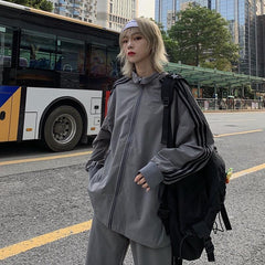 Buy cheap Aesthetic clothes GRAY ULZZANG SIDE LINES JACKET + SPORTY PANTS 30% OFF - NORMCORE STUDIOS