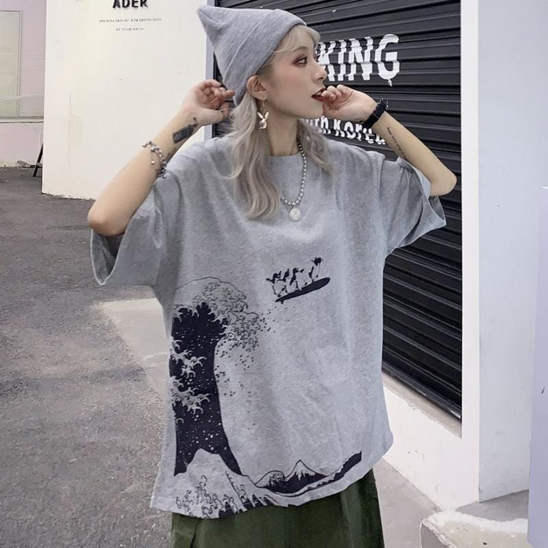 Buy cheap Aesthetic clothes GREAT WAVE PRINT GRAY WHITE OVERSIZED T-SHIRT 30% OFF - NORMCORE STUDIOS