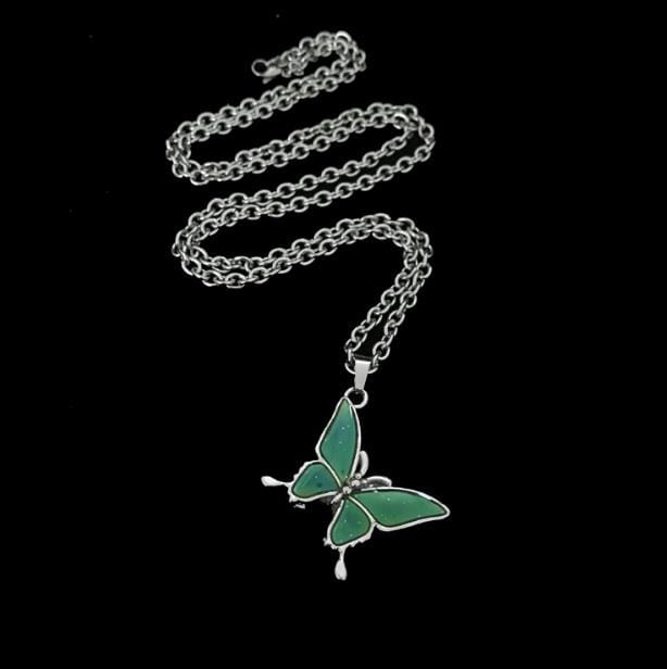 Buy cheap Aesthetic clothes GREEN BUTTERFLY SILVER CHAIN NECKLACE 30% OFF - NORMCORE STUDIOS