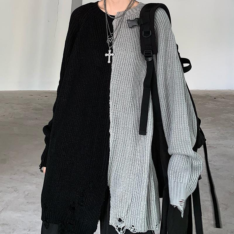 Buy cheap Aesthetic clothes GRUNGE BLACK AND GRAY KNIT RIPPED LOOSE SWEATER 30% OFF - NORMCORE STUDIOS