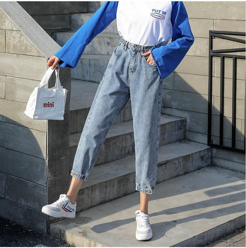 Buy cheap Aesthetic clothes HIGH WAIST RETRO BLUE GRAY BLACK ANKLE BUTTONS JEANS 30% OFF - NORMCORE STUDIOS