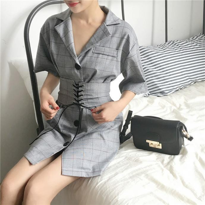 398f9d4444 itGirl Shop JACKET STYLE PLAID DRESS WITH STRAPPY BELT Aesthetic Apparel,  Tumblr Clothes, Soft