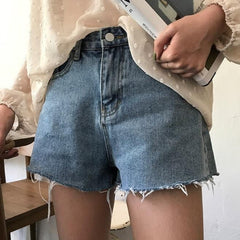 Buy cheap Aesthetic clothes JEANS RIPPED BLUE LOOSE HIGH WAIST SHORTS 30% OFF - NORMCORE STUDIOS