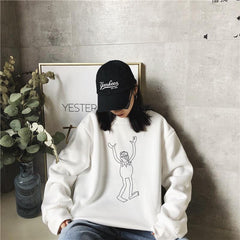 Buy cheap Aesthetic clothes KERMIT THE FROG LINE ART PRINT WHITE LOOSE SWEATSHIRT 30% OFF - NORMCORE STUDIOS