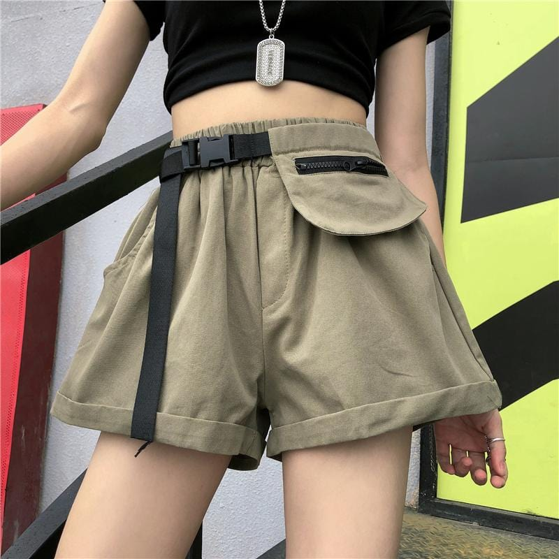 Buy cheap Aesthetic clothes KHAKI BLACK HIGH WAIST LOOSE SHORTS 30% OFF - NORMCORE STUDIOS