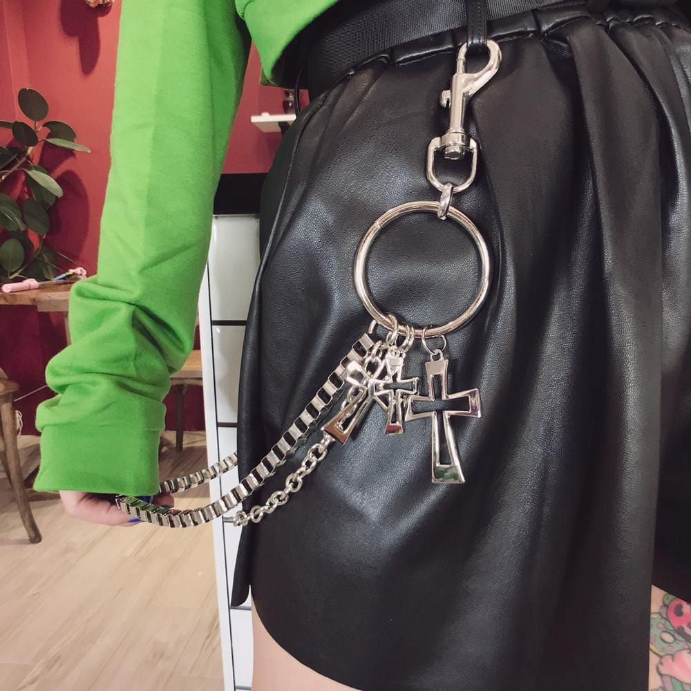 Buy cheap Aesthetic clothes METALLIC PUNK STREEN FASHION CROSSES CHAINS 30% OFF - NORMCORE STUDIOS