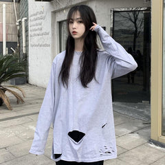 Buy cheap Aesthetic clothes LOOSE RIPPED HOLE LONG SLEEVE T-SHIRT 30% OFF - NORMCORE STUDIOS