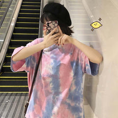 WATERCOLOR ABSTRACT PRINT SHORT SLEEVE LOOSE T-SHIRT