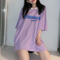 Buy cheap Aesthetic clothes PASTEL COLORS LETTERS PRINTS LONG SHIRT DRESS 30% OFF - NORMCORE STUDIOS