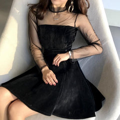 Buy cheap Aesthetic clothes PINK BLACK SOFT SUEDE BOTH SIDES LACE UP TRANSPARENT SHOULDERS SLEEVE DRESS 30% OFF - NORMCORE STUDIOS