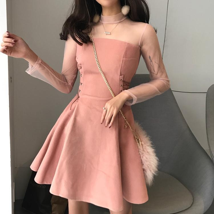 Pink Black Soft Suede Both Sides Lace Up Transparent Shoulders Sleeve Dress