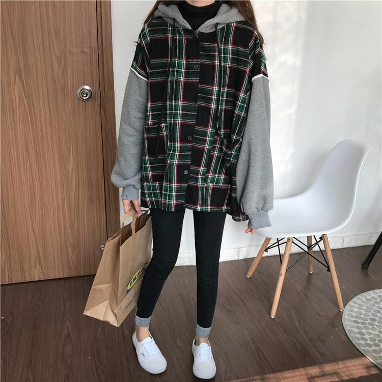 OVERSIZED PLAID HOODIE WIDE-SLEEVES
