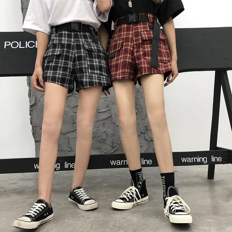 Buy cheap Aesthetic clothes RETRO PLAID HIGH WAIST LOOSE MINI SHORTS 30% OFF - NORMCORE STUDIOS