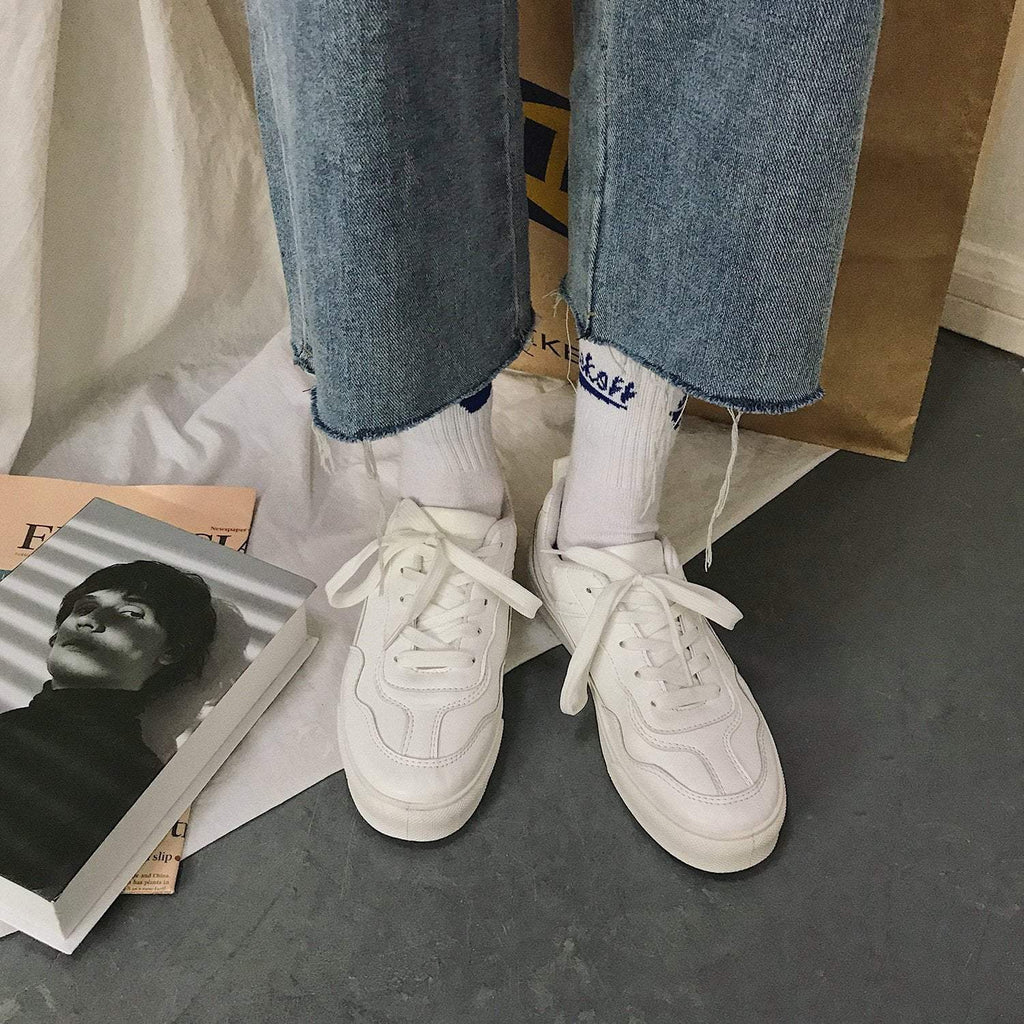 RETRO SOLID WHITE BEIGE STITCHING CASUAL SNEAKERS